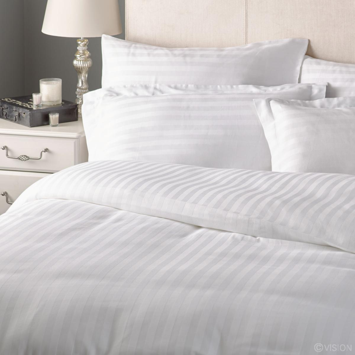 Hide A Bed Sheets: Duvet Cover - 2cm Satin Stripe, Cotton Rich