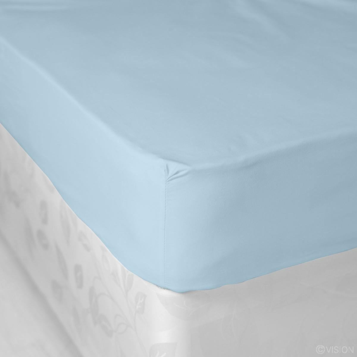 Light Blue Plain Polycotton Fitted Bed Sheet