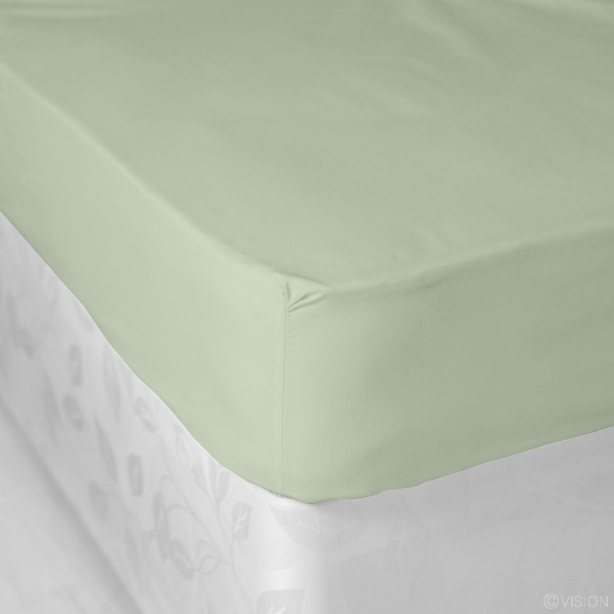 Sage Green Plain Polycotton Fitted Bed Sheet