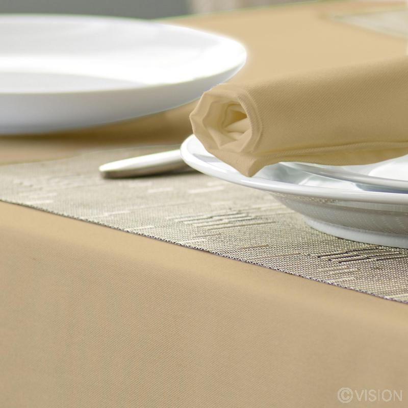 Alpha Plain Coloured Circular Tablecloth Biscuit