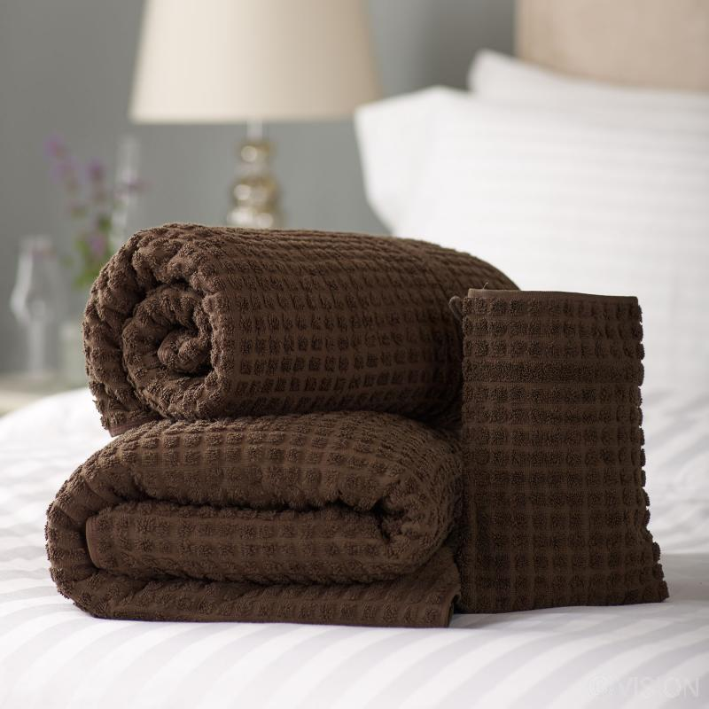Mosaic chocolate bath towels