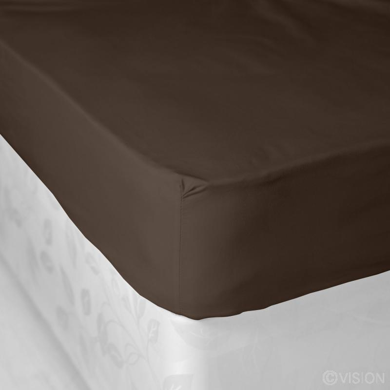 Chocolate plain polycotton fitted bed sheet