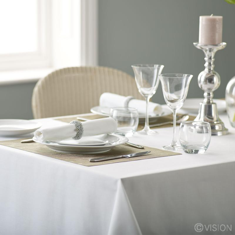 Classic Alpha plain white tablecloth