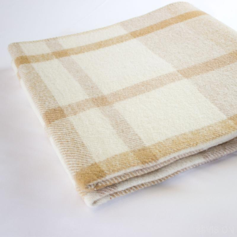 Flame Retardant Natural Blanket with Check Pattern