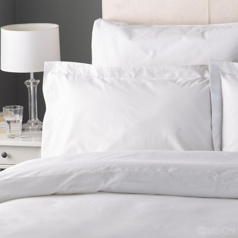 Fusaro white cotton rich pillowcase detail
