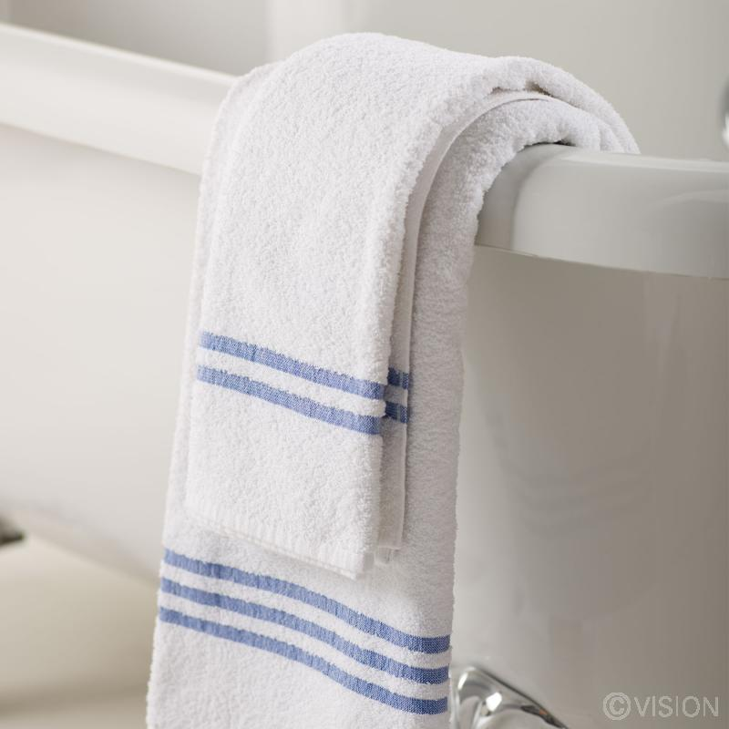 Leisure hand towel blue header