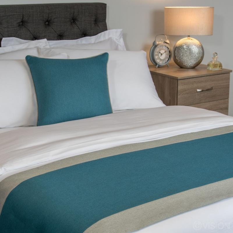 Nightingale Coloured Premium Bed Runner  - Kingfisher (Silver Fern Border)
