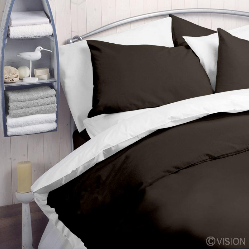 Chocolate plain polycotton duvet cover
