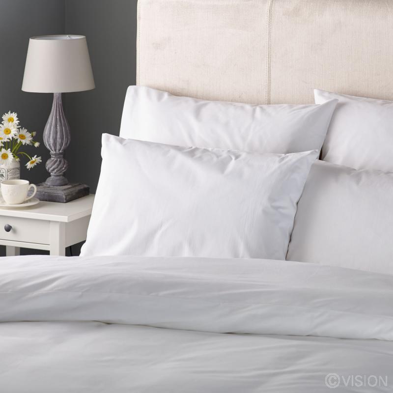 Orta everyday plain white polycotton pillowcase detail