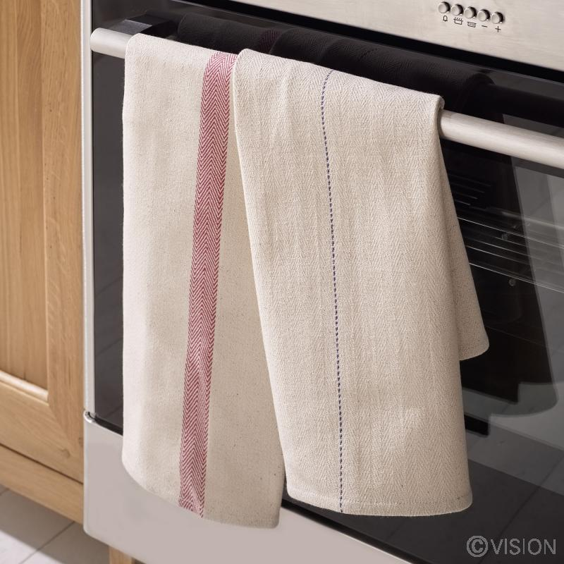 Oven cloth with red border