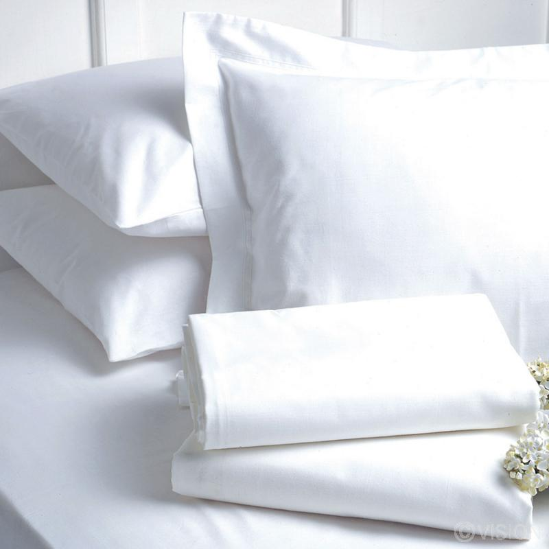 Renoir plain white percale pillowcase detail