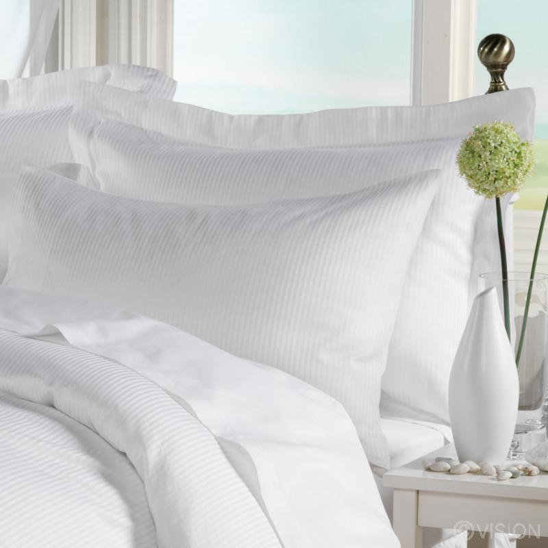 Varano white cotton 4mm sateen stripe pillowcases