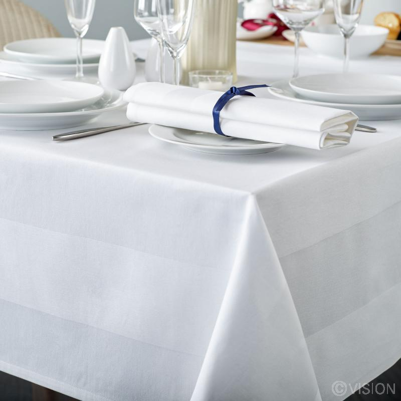 Delta white satin band table linen