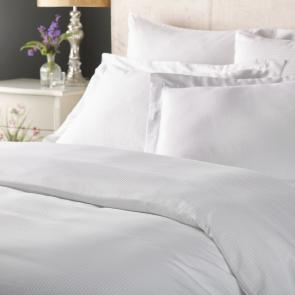 Varano White Cotton 4mm Sateen Stripe Duvet Cover