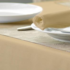 Alpha Plain Coloured Circular Tablecloth Biscuit