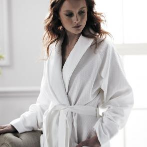 Model wearing Blackrock diamond weave high quality bathrobe