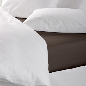 Light blue plain polycotton flat bed sheet