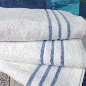 White leisure towel with blue header bars