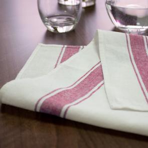 Striped Border Glass Cloth - Red Design
