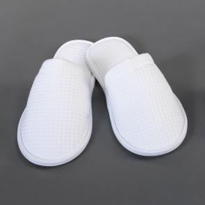 Waffle design closed toe hotel and spa slippers