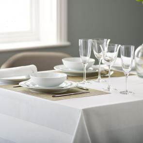 Athena Bistro Satin Band Tablecloth - White