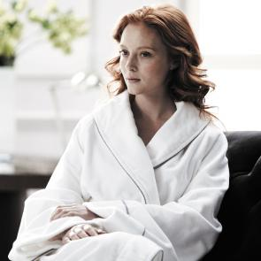 Model wearing Foxrock soft luxury bathrobe